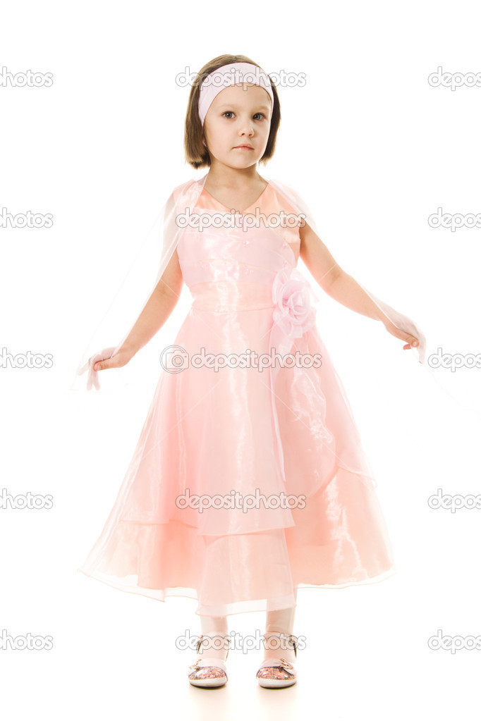 Beautiful girl princess smiling on a white background  Stock Photo #9739329