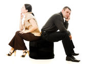 Quarrel between men and women — Stock Photo
