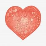 coeur floral. coeur de coeur flowers.doodle — Vecteur