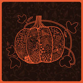 Ornated pumpkin, stylized Halloween card — Stock Vector
