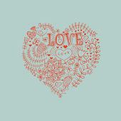 花的心。做成的 flowers.doodle 心心 — 图库矢量图片