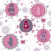 Mitten seamless pattern, winter seamless pattern with mittens — Stock Vector