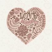 Blommigt hjärta. hjärtat av flowers.doodle hjärta — Stockvektor