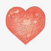 Floral hart. hart gemaakt van flowers.doodle hart — Stockvector