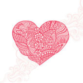 Floral heart. Heart made of abstract ornament.Doodle Heart — Vettoriale Stock