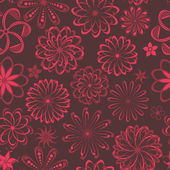 Floral seamless pattern, endless texture with ornate flowers. — Stockvector