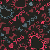 Romantic seamless pattern with butterflies. I love you. — Vector de stock
