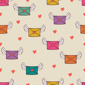 Nahtlose muster mit post-briefe. liebe post. — Stockvektor