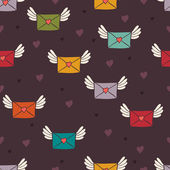 Seamless pattern with post letters. Love mail. — Stock vektor