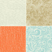 Set of four seamless abstract hand-drawn pattern, waves backgrou — ストックベクタ