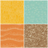 Set of four seamless abstract hand-drawn pattern, waves backgrou — Stock Vector