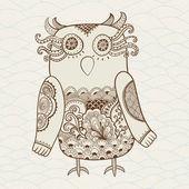 Cute Decorative Owl, vector illustration. Lacy bird. — Stock Vector