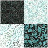 Set of Four Seamless Pattern With Leaf. Abstract leaf texture, e — Vetor de Stock