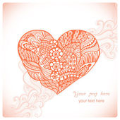 Floral heart. Heart made of abstract ornament.Doodle Heart — 图库矢量图片