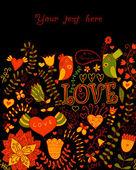 Illustratie met bloemen, vogels, harten en butterflies.romanti — Stockvector