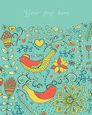 εικονογράφηση με λουλούδια, τα πουλιά, καρδιές και butterflies.romanti — Διανυσματικό Αρχείο