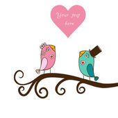 Beautiful birds in love.Illustration of cartoon birds on branch, — Stock Vector