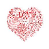 çiçek kalp. flowers.doodle merkezinde yapılan kalp — Stok Vektör