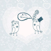 Birds in love. Vector illustration. Declaration of love. Vector — Stock Vector