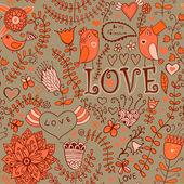 花卉、 鸟类与蝴蝶的无缝纹理。无尽花卉 — 图库矢量图片