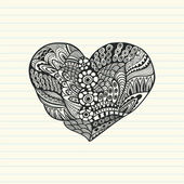 Floral heart. Heart made of abstract ornament.Doodle Heart — ストックベクタ