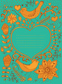 Vintage retro background with floral ornament and heart in the m — Stock Vector