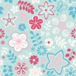 Seamless texture with flowers and butterflies. Endless floral pa - Stock Vector