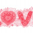 The word love.Romantic background — Imagens vectoriais em stock