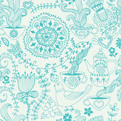 Retro coffee seamless pattern, tea background — Vetor de Stock