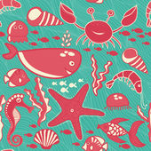 Marine seamless pattern, endless texture of sea world — Stockvektor