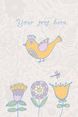 Ročník romantické pozadí s ptákem. pták, květinovým kartu s pl — Stock vektor