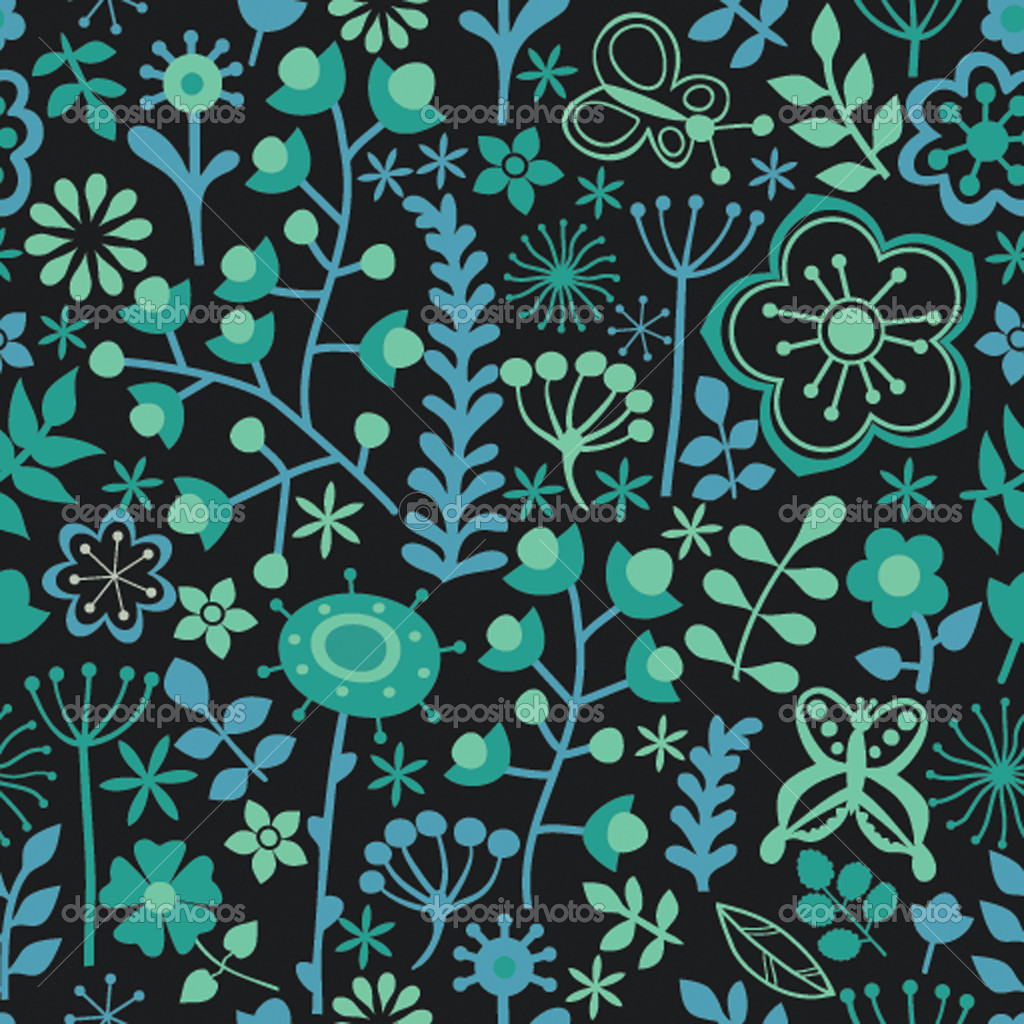 Seamless texture with flowers and butterflies. Endless floral pattern  Stock Vector #7983595