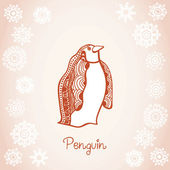 Ilustracja karta pingwina w śniegu, ręcznie rysowane oryginał — Wektor stockowy
