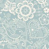 Textura sem costura com flores e borboletas. infinito pa floral — Vetorial Stock