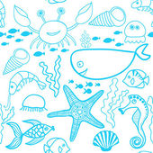 Marine seamless pattern, endless texture of sea world — ストックベクタ