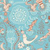 Retro coffee seamless pattern, tea background — Stock Vector