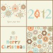 Stock Vector: Vintage Christmas set. of four backgrounds. Retro Christmas elem