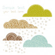Rain of heart with clouds, autumn background — Image vectorielle