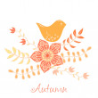 Vintage romantic background with bird. Bird, floral card in autu — Stock Vector