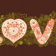 "The word ""love"".Romantic background — Vector de stock"