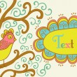 Retro style banner with bird and frame for your text in autumnal — Stock Vector