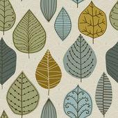 En seamless mönster med blad, höst löv bakgrund — Stockvektor