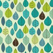 与叶的无缝纹理 — 图库矢量图片