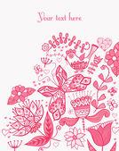 Romantyczny tło z ptakiem. ptak, karta kwiatowy — Wektor stockowy