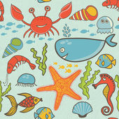 Marine seamless pattern, endless texture of sea world — Stock Vector