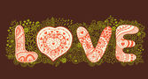 "The word ""love"".Romantic background — Vettoriale Stock"