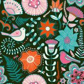 花と蝶とのシームレスなテクスチャです。無限の花 pa — ストックベクタ