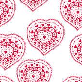 Romantique modèle sans couture avec coeurs — Vecteur