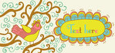 ретро стиль баннер с птицей и рамка для вашего текста в осенний — Cтоковый вектор
