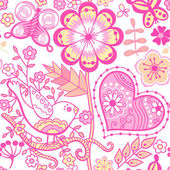 Floral seamless pattern, endless texture with flowers. Vector ba — Stock Vector